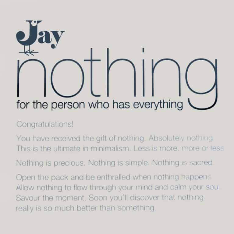 Jay Gift Of Nothing For The Person Who Has Everything Box Label
