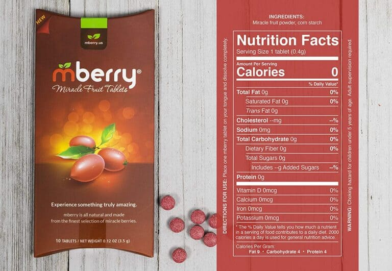 Mberry Miracle Berry Fruit Tablet Nutrition Facts