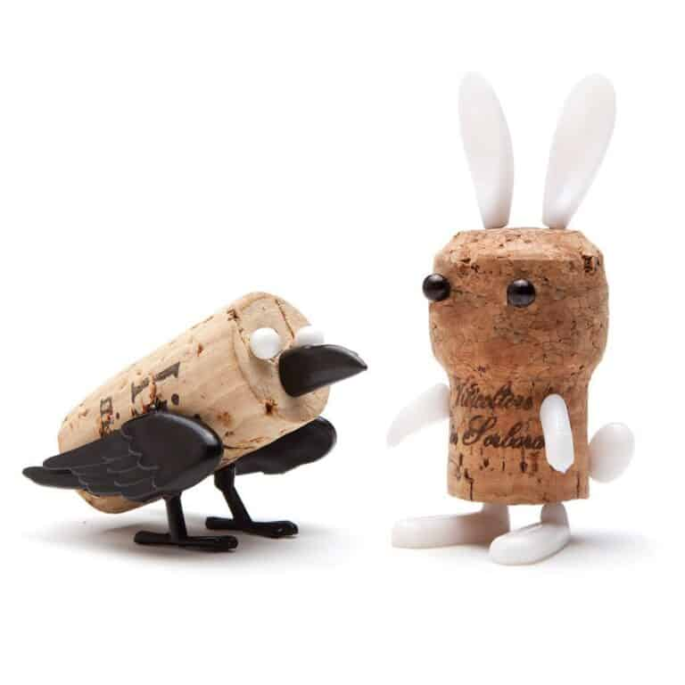 Monkey Business Corkers Wine Cork Figurines Crow and Rabbit Toys