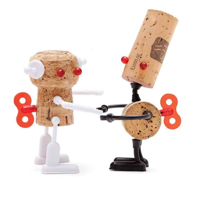 Monkey Business Corkers Wine Cork Figurines Miniature Robots