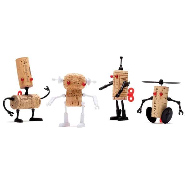 Monkey Business Corkers Wine Cork Figurines Robots Family Pack
