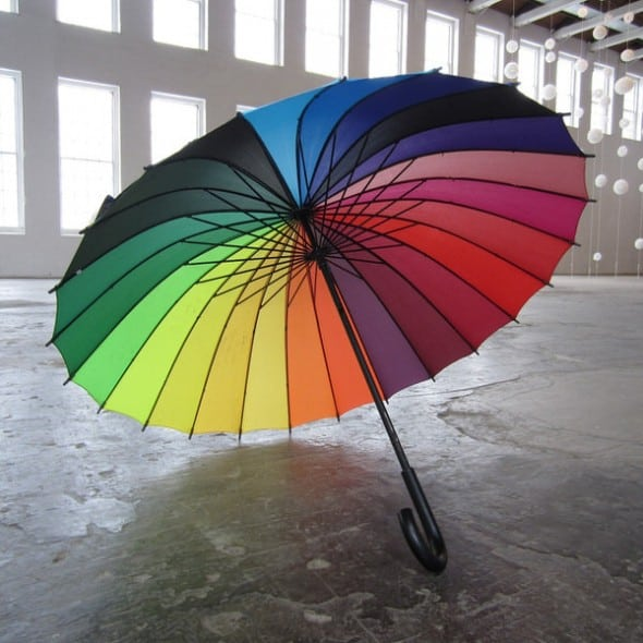 Rainbow Color Wheel Umbrella Fun Rain Product