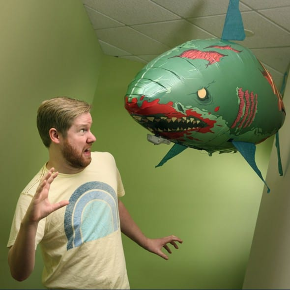 Remote Control Flying Zombie Shark Terrified Citizen