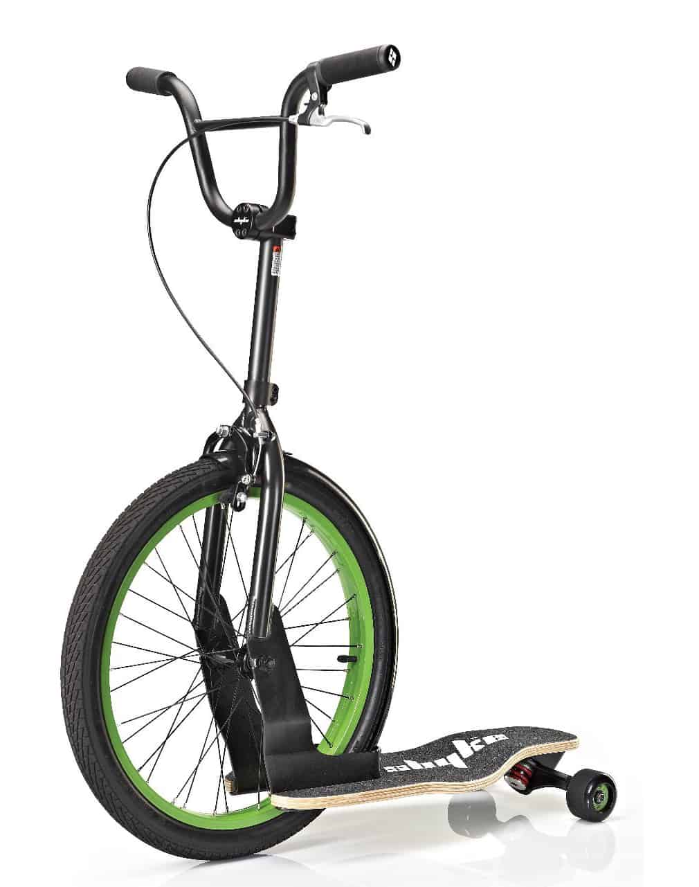 Sbyke P-20 Patented Rear-Steering Scooter Green Wheel