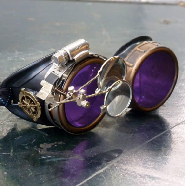 Steampunk Victorian Cosplay Goggles Purple Lenses