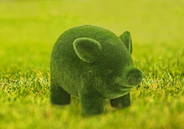 Streamline Grass Flocked Coin Bank Green Piggy