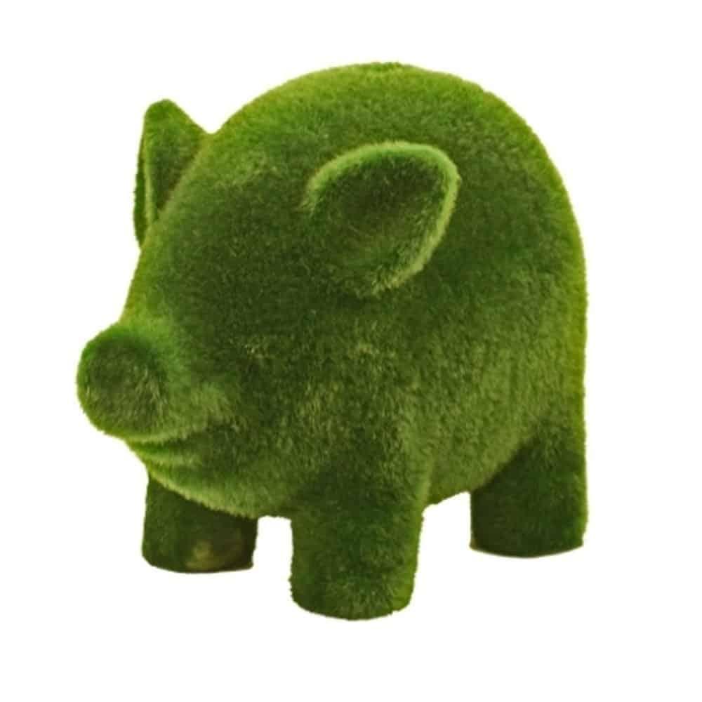 Streamline Grass Flocked Coin Bank, Piggy
