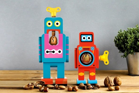 Suck UK Robot Nutcracker Blue and Red Bots