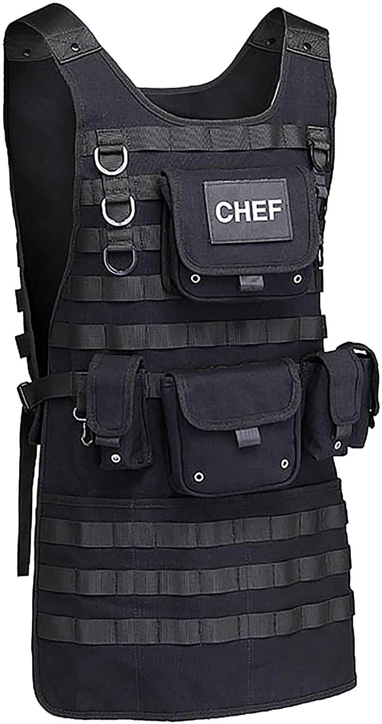 Tactical BBQ Apron Black Manly Chef Gift Idea
