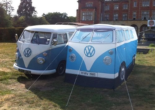 Volkswagen Van Camper Tent Blue Comparison to Real Van