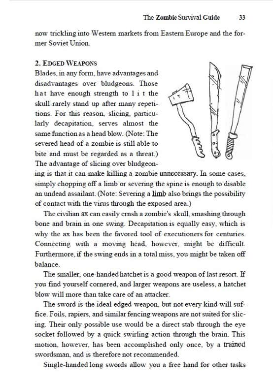 Zombie Survival Guide Page Edged Weapons