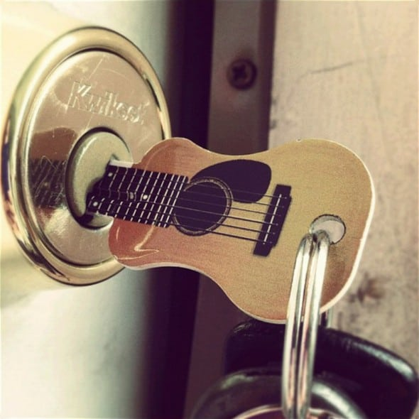 Acoustic Guitar Kwikset KW1 House Key Front Door