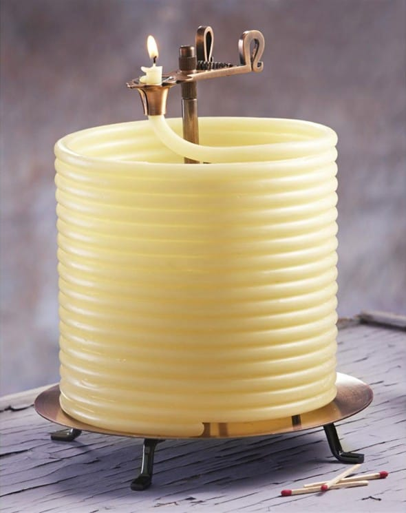 Candle by the Hour 144 Hour Beeswax Coil Candle Cool Garden Stuff to Buy