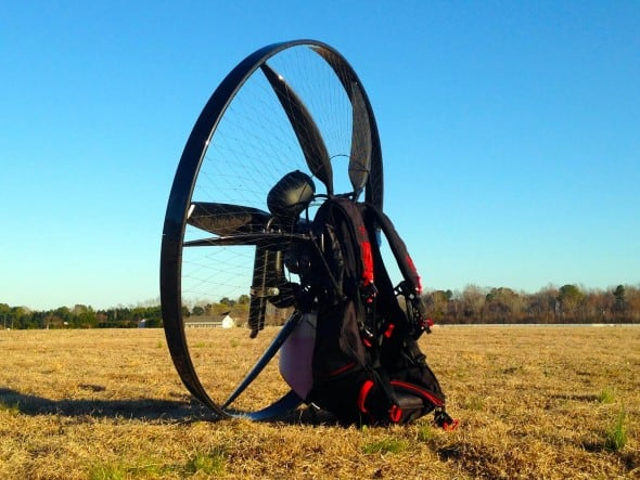 Carbon Fiber Paramotor In the Open Field