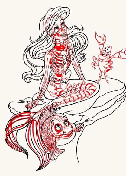 Chris Panda X-Ray Series Ariel Flaunder Sebastian Little Mermaid Walt Disney