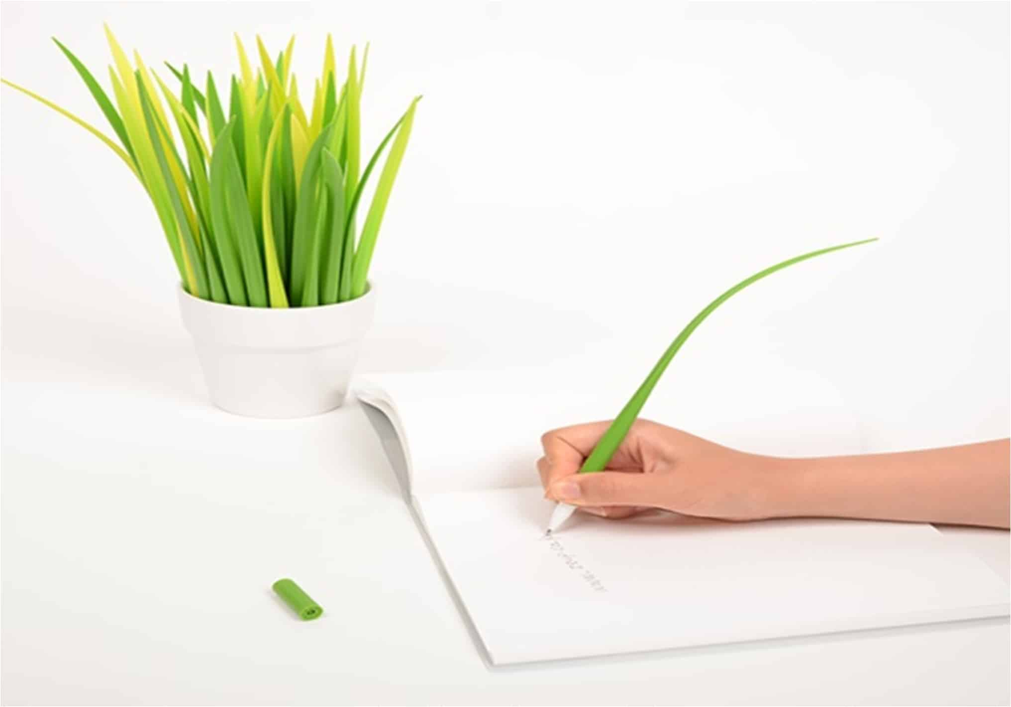 Write more naturally with a grass leaf pen.