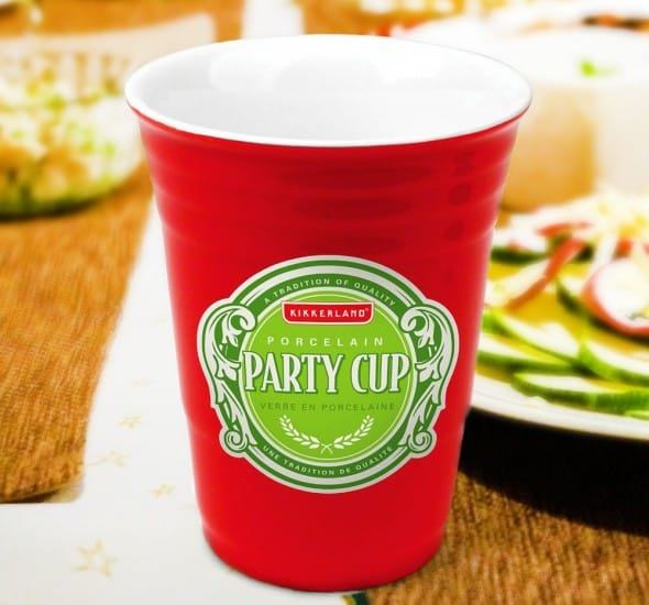 Kikkerland Porcelain Party Cup Green Sticker Cool Gift to Buy Him