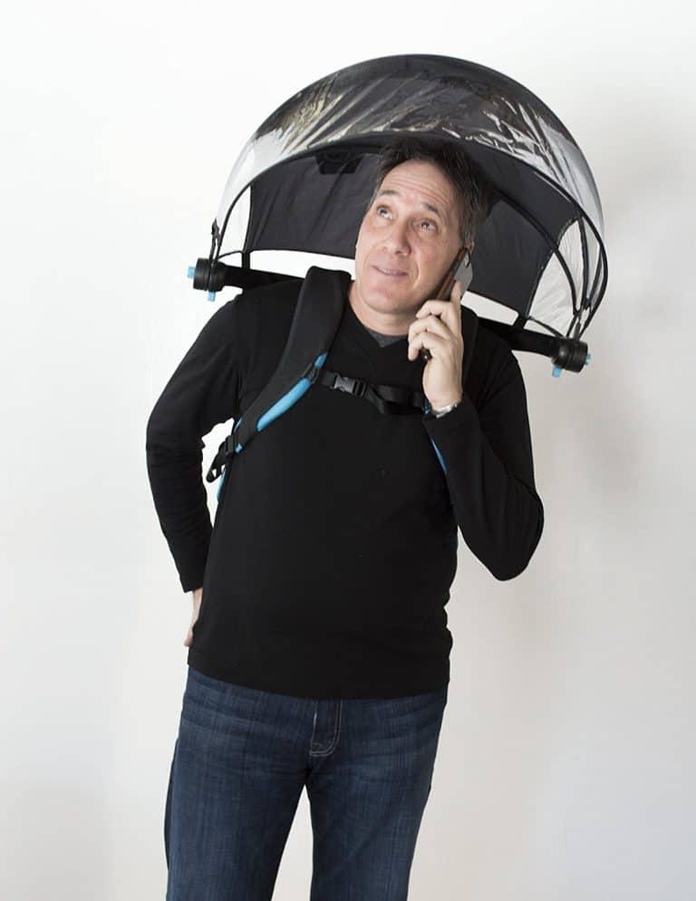 Nubrella Hands Free Umbrella Ergonomic Invention