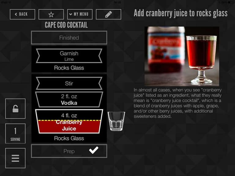 Perfect Drink Pro Bartending Smart Scale IOS App Interface
