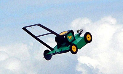 Sky Cutter The Flying Green Lawn Mower in the Clouds Unique Product