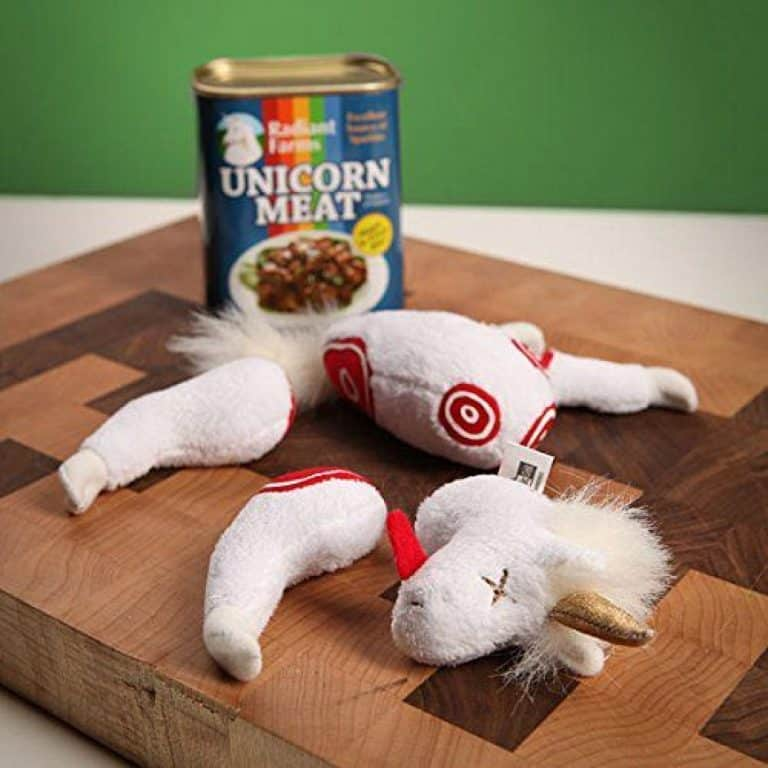 ThinkGeek Canned Unicorn Meat Stuffed Toy White Elephant Gift