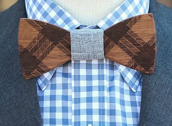 Two Guys Bow Tie Co Mens Wooden Bow Tie Phloyd Cool Wedding Accessory