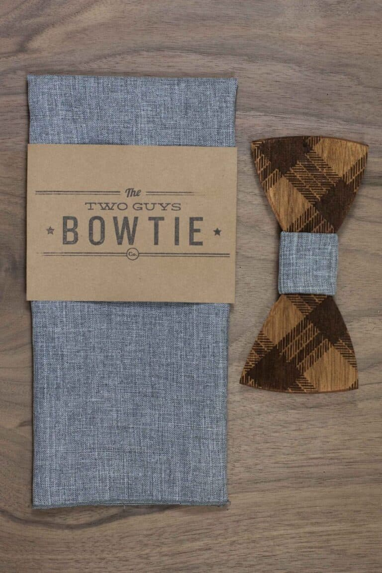 Two Guys Bow Tie Co Mens Wooden Bow Tie Phloyd Hipster Accessory