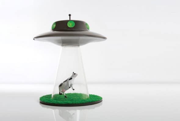 UFO Alien Abduction Lamp Floating Cow