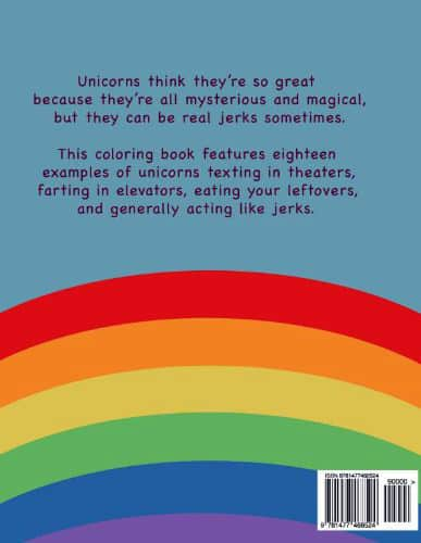 Unicorns are Jerks Coloring Book Explanation Rear Cover