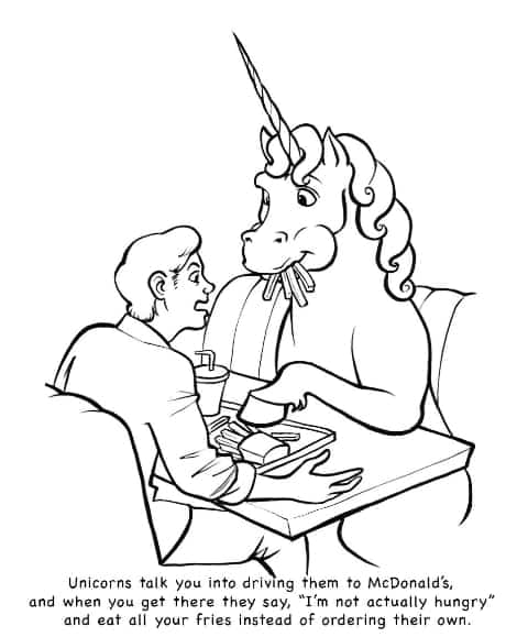 Unicorns are Jerks Coloring Book Page Eating All Your Fries