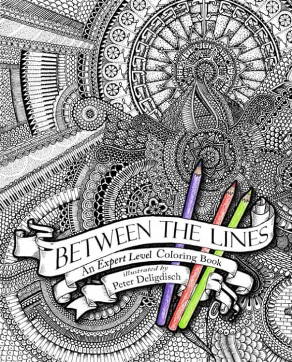 Between the Lines An Expert Level Coloring Book Manchild Gift Colored Penceils Complex Mosaic Tiles