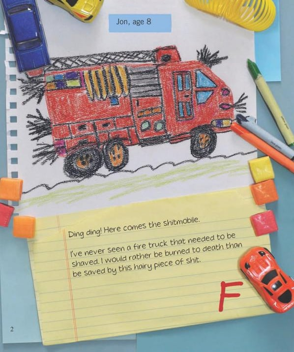 Childrens Crappy Art Red Hairy Fire Truck