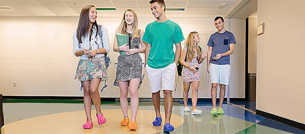 Clawz Novelty Shoes Highschool Kids Walking on the School Hallway