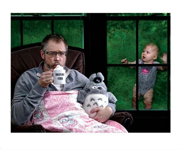 Confessions of the Worlds Best Father Hot Cup of Tea with Totoro Doll and Baby Outdside Window