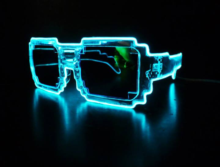 Glow in the Dark Sunglasses Pixel Glasses Geek Gift