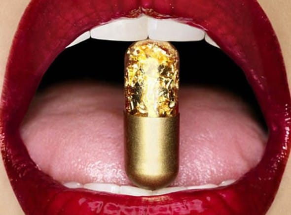 Gold Pills Sexy Red Lips
