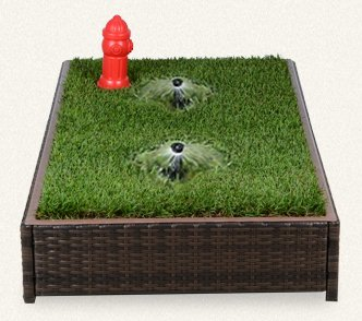 Porch Potty Premium Dog Grassy Litter Box Automatic Sprinklers with Red Fire Hydrant