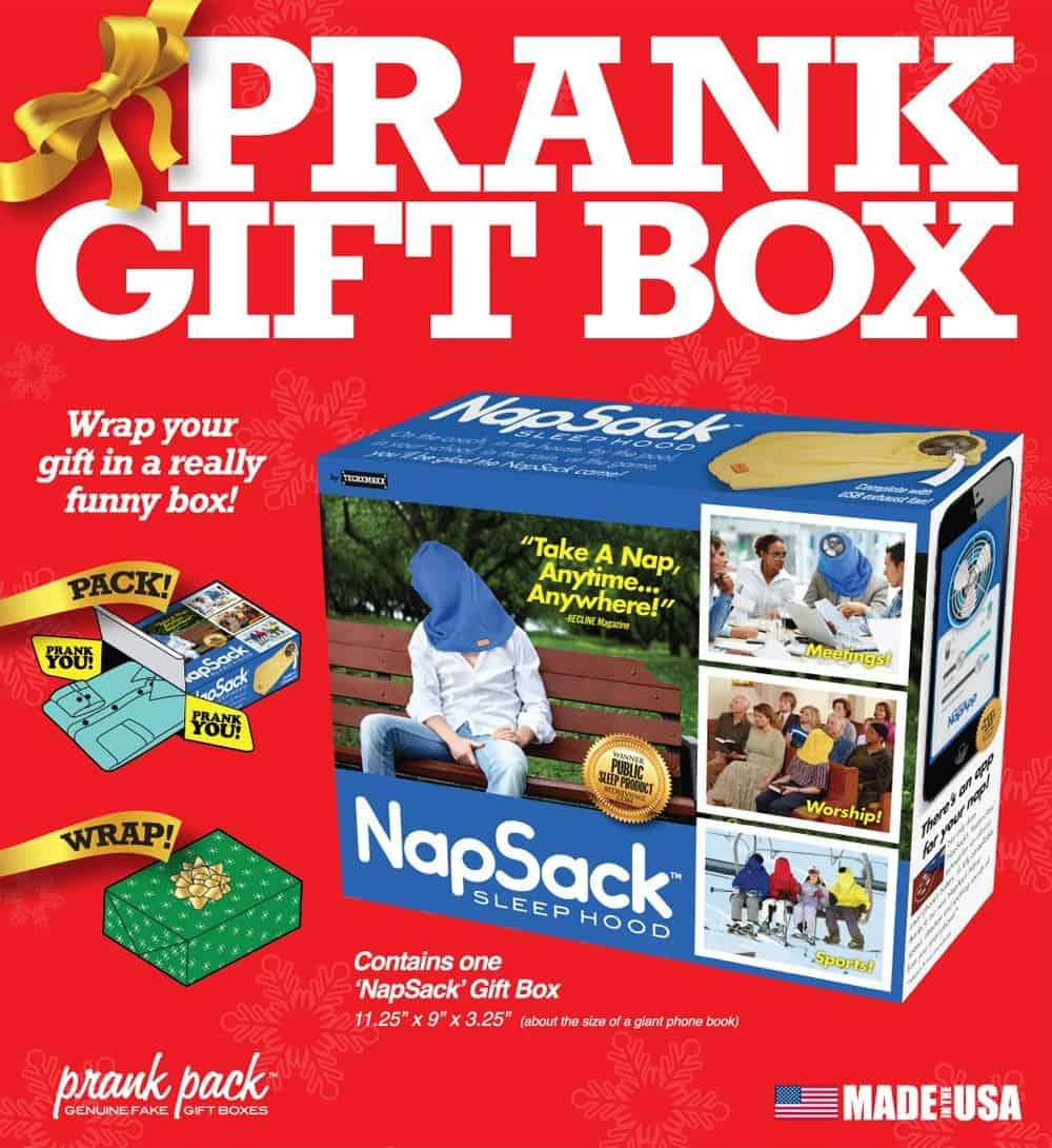Prank Pack Nap Sack Sleep Hood Funny Fake Gift Box