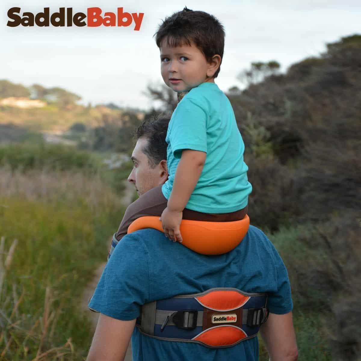 SaddleBaby Shoulder Carrier Kid Bonding with Father