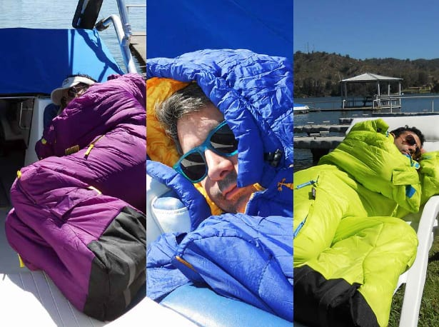Selk Wearable Sleeping Bag Man Sleeps on Yacht with Sunglasses