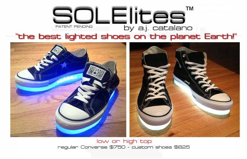 Solelites Custom Tron Glowing Shoes Chucks All Star Dark Blue