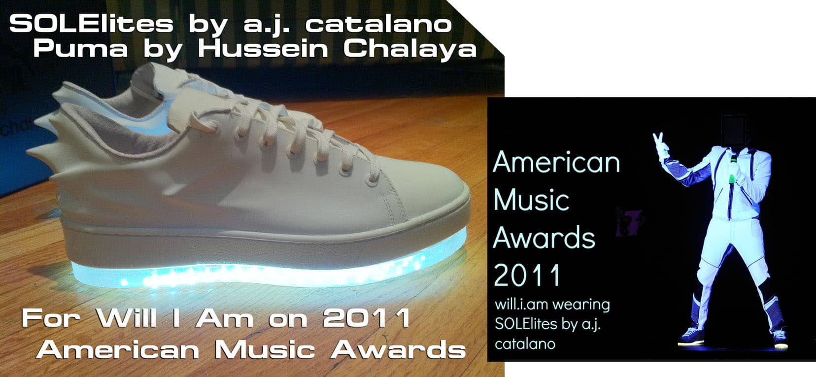 Solelites Custom Tron Glowing Shoes White Spike Puma Will I Am American Music Awards