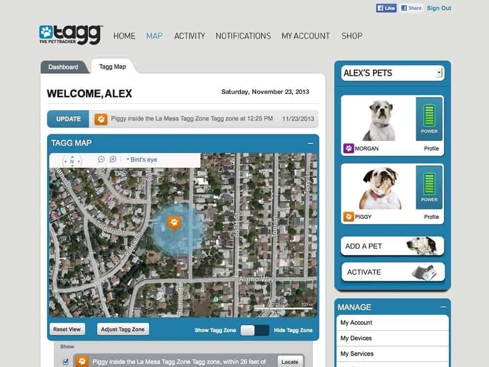 Tagg Dog & Cat Pet Tracker  GPS Interface