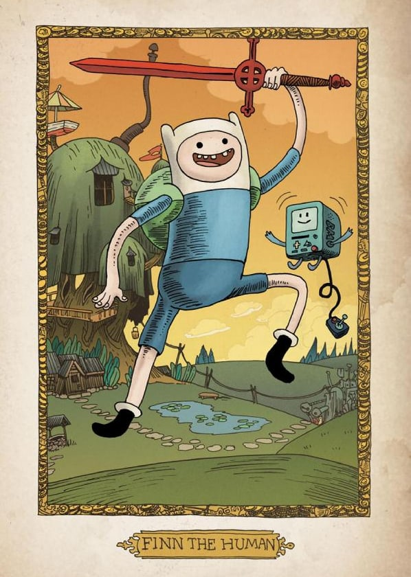 The Adventure Time Encyclopaedia (Encyclopedia) Finn the Human Art Work with Red Demon Sword