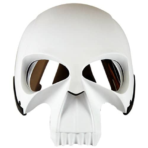 3D Skull Skeleton Matte White Mean Looking Biker Helmet