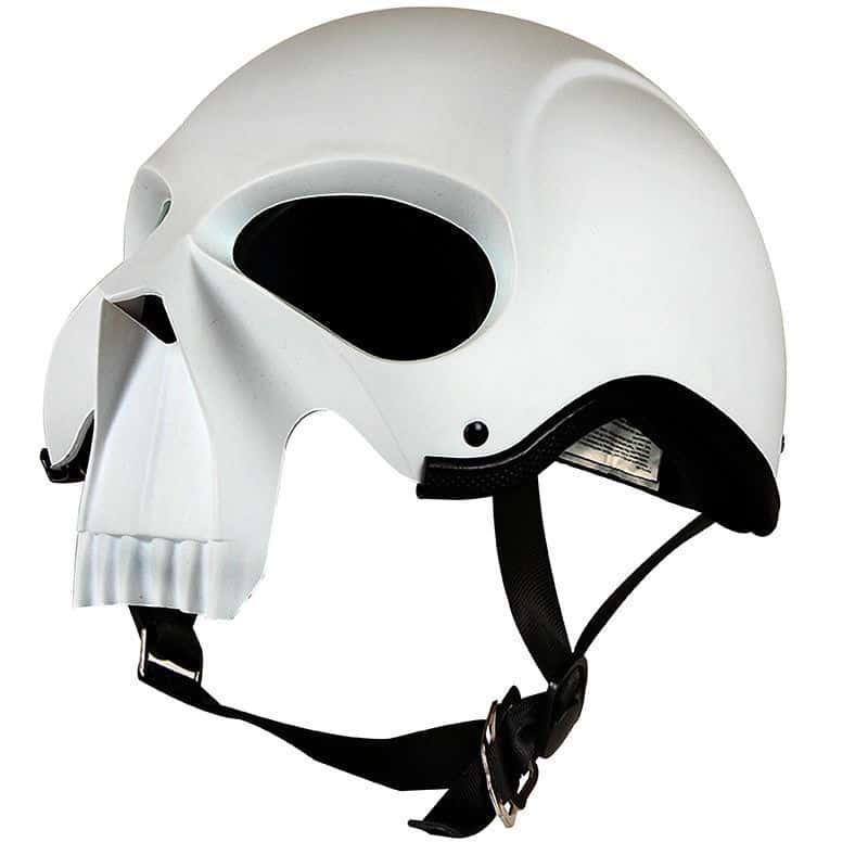 3D Skull Skeleton Matte White Novelty Biker Helmet