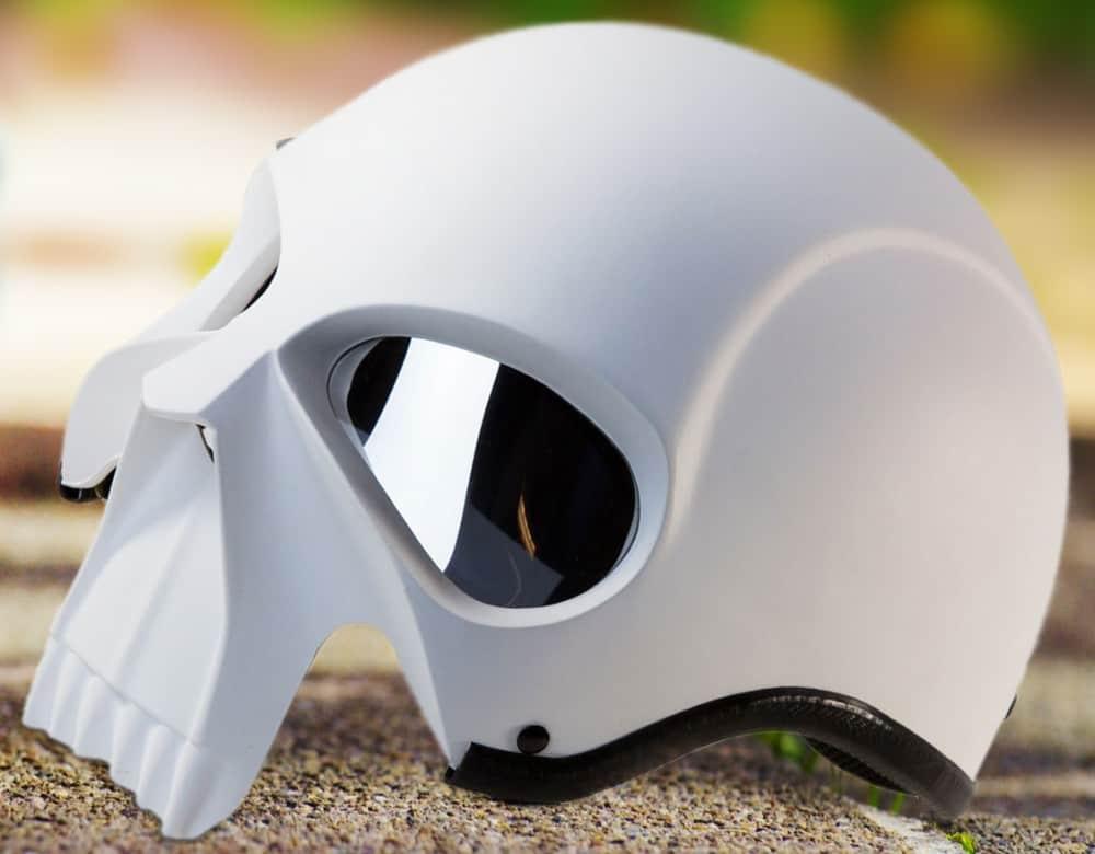 3D Skull Skeleton Matte White Novelty Kickass Biker Helmet