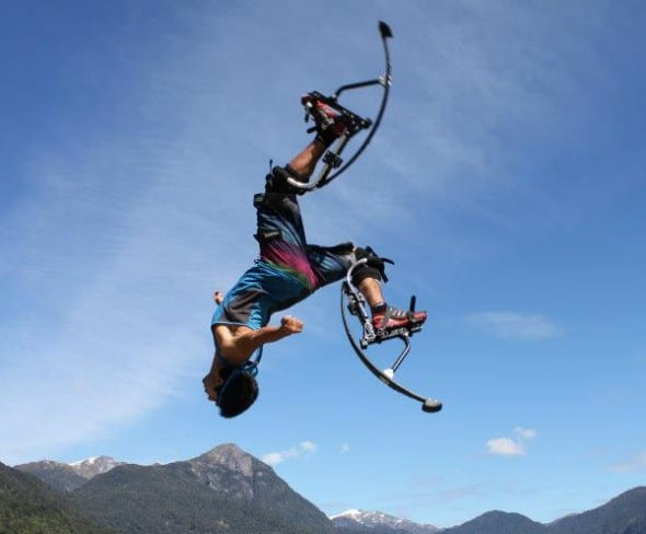 Air Trekker Jumping Stilts Extic Extreme Sports Girl Backflip jump