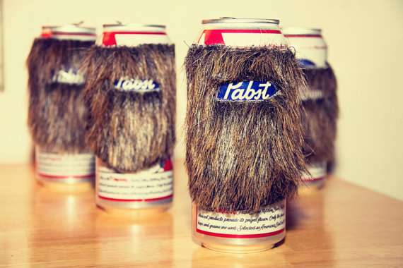Beard Beer Can Koozie Manly Drink Accessory