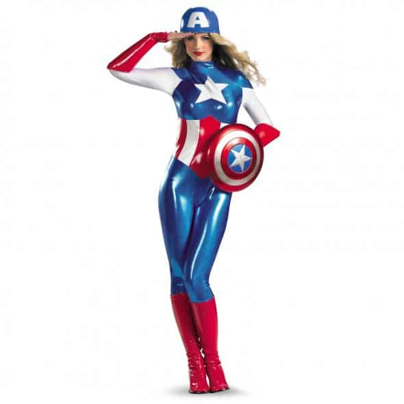 Captain America American Dream Bodysuit Women Sexy Super Hero Cosplay Costume Star and Stripes